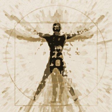 Vitruvian man expressive stylized.An illustration of a decaying silhouette of Vitruvian man.