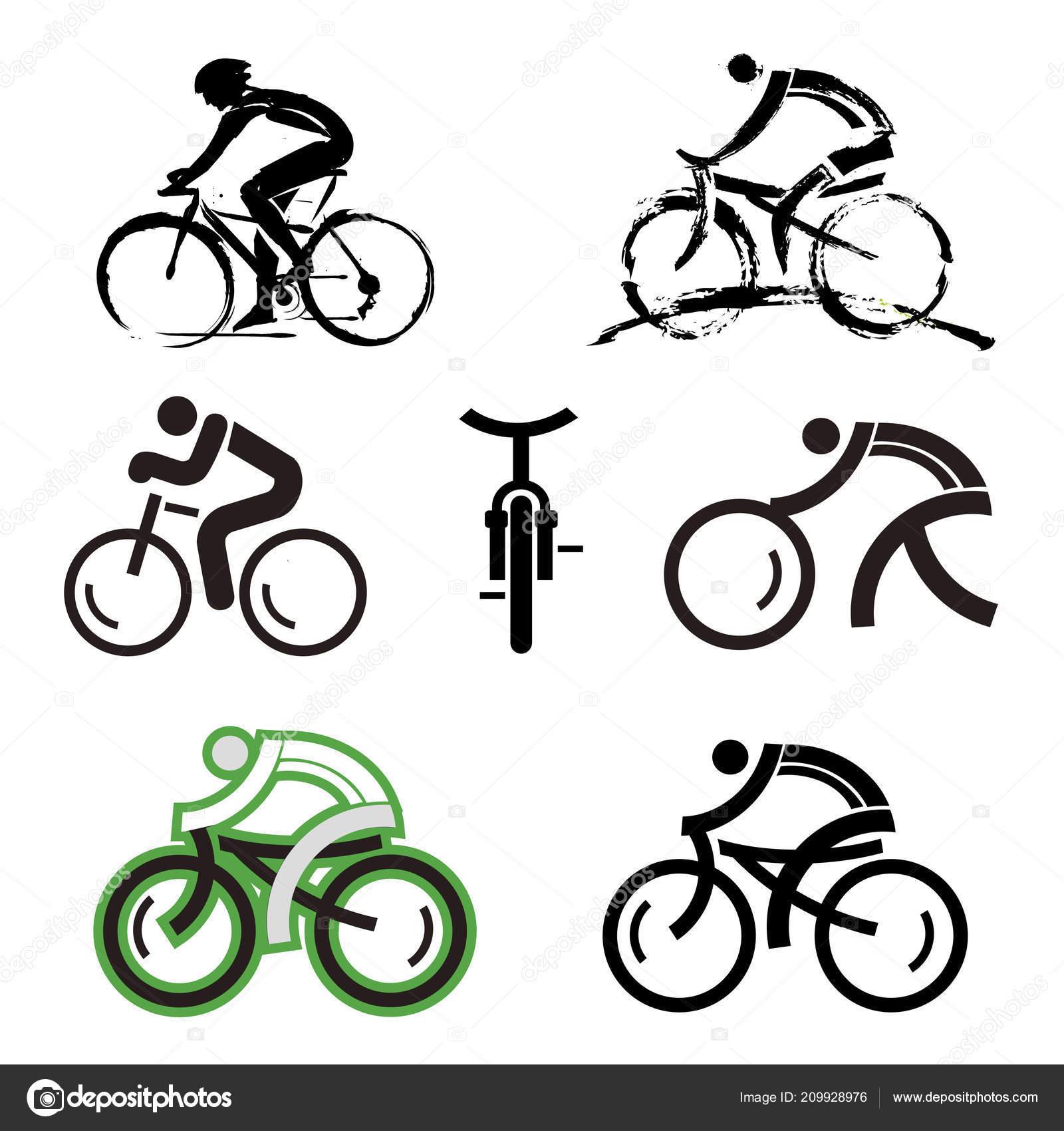 Vettore Icone Ciclismo Icone Biciclette Expressive Geometria