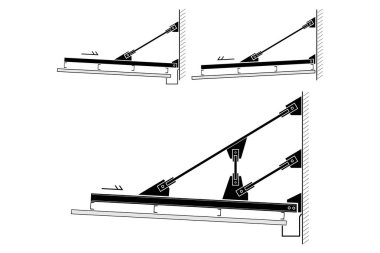 Canopy roof section frame, vector illustration