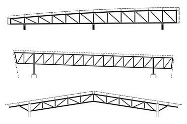 Roofing building, steel frame detail, roof truss set, vector illustration