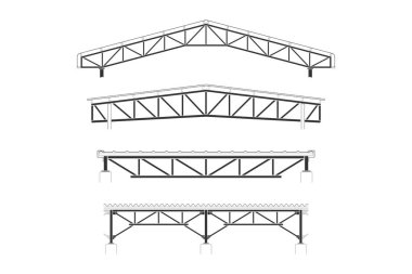 Roofing building,steel frame cover, roof truss set, vector illustration