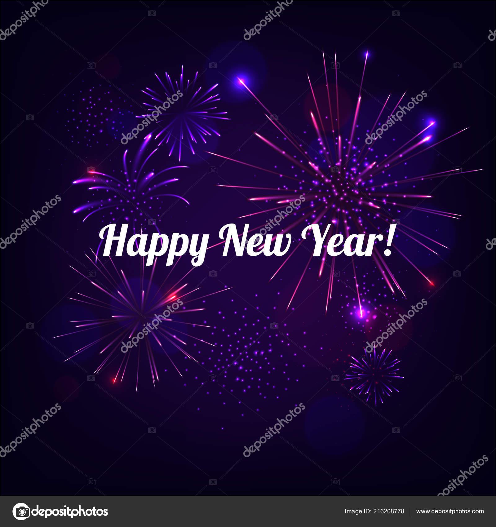 Dibujo Feliz Ano Nuevo Con Fuegos Artificiales Fondo Azul Vector