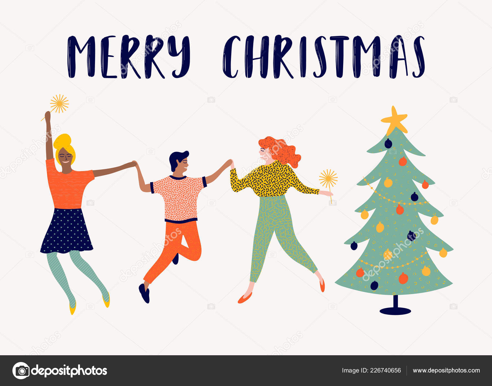 Christmas Illustration.Merry Christmas Illustration Funny People Who Celebrate