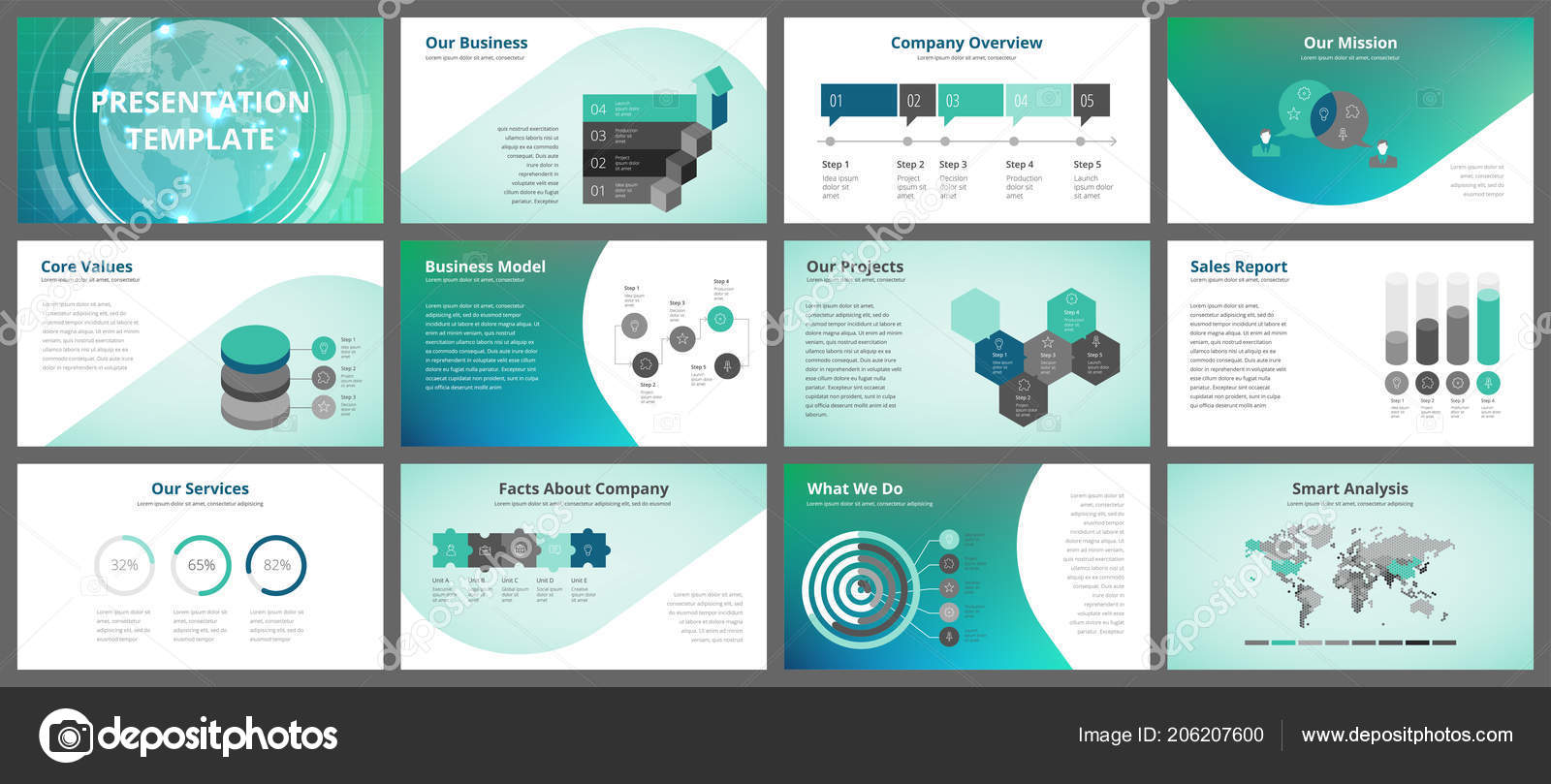 business presentation templates vector infographic elements company