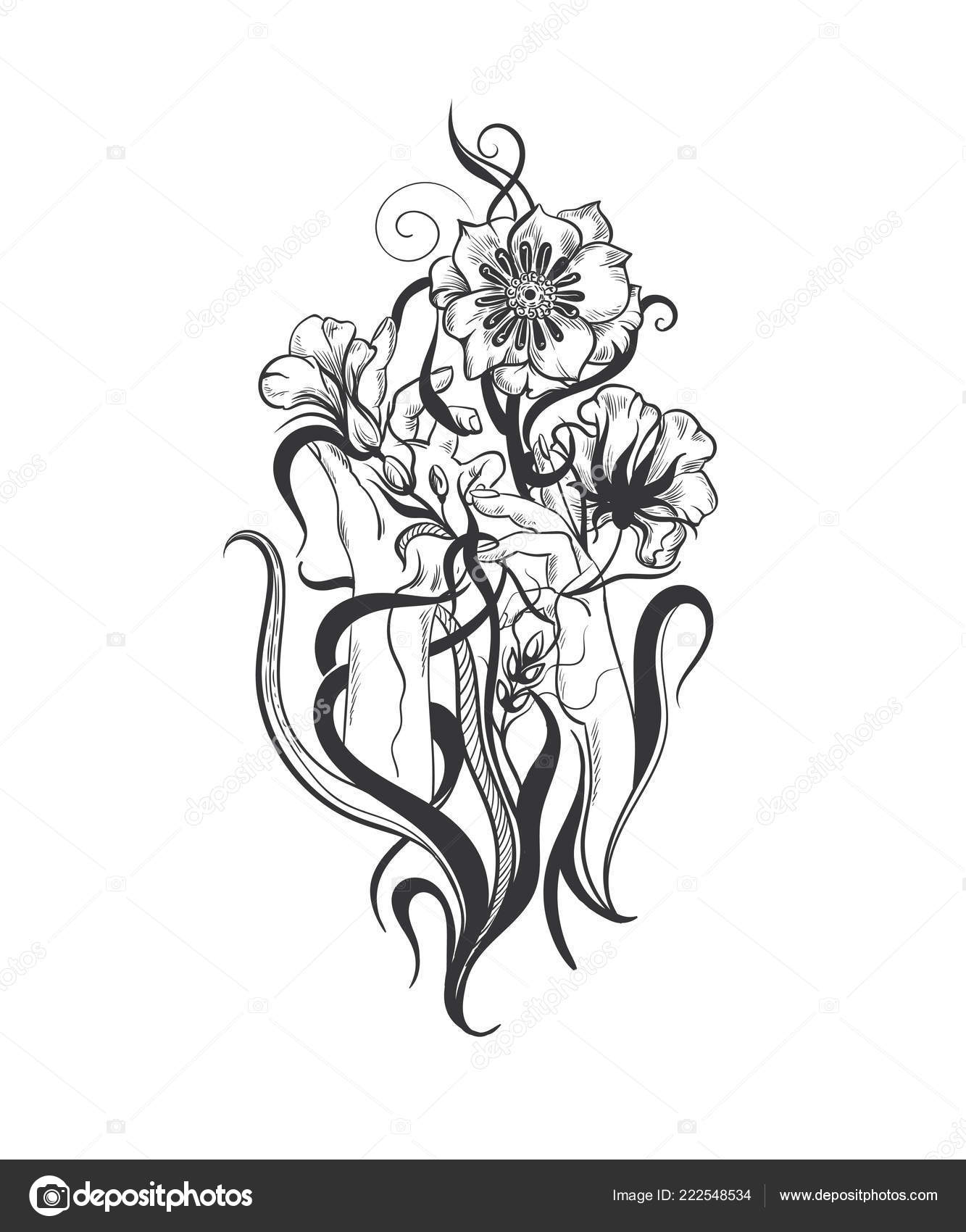 Vektor Ruce Kvetiny Kresleni Stock Vektor C Tatianat 222548534