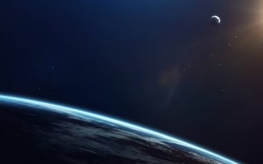 Little blue planet Earth in deep space. Elements of this image f