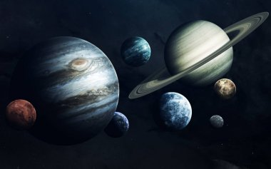 Planets of Solar system. Earth, Mars, Jupiter and others. Elemen