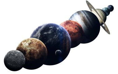 All planets of solar system on the white background. Educational