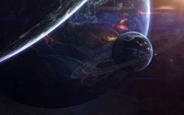 Science fiction space wallpaper, incredibly beautiful planets, g