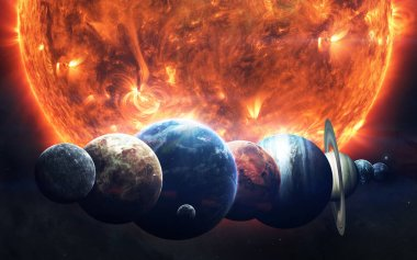 Earth, Mars, and others. Science fiction space wallpaper, incred
