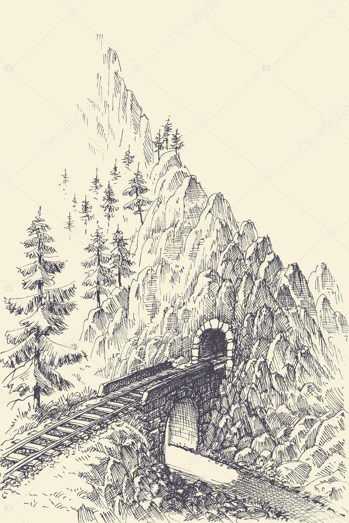 Railway Bridge And Train Tunnel In The Mountains Premium Vector In Adobe Illustrator Ai Ai Format Encapsulated Postscript Eps Eps Format
