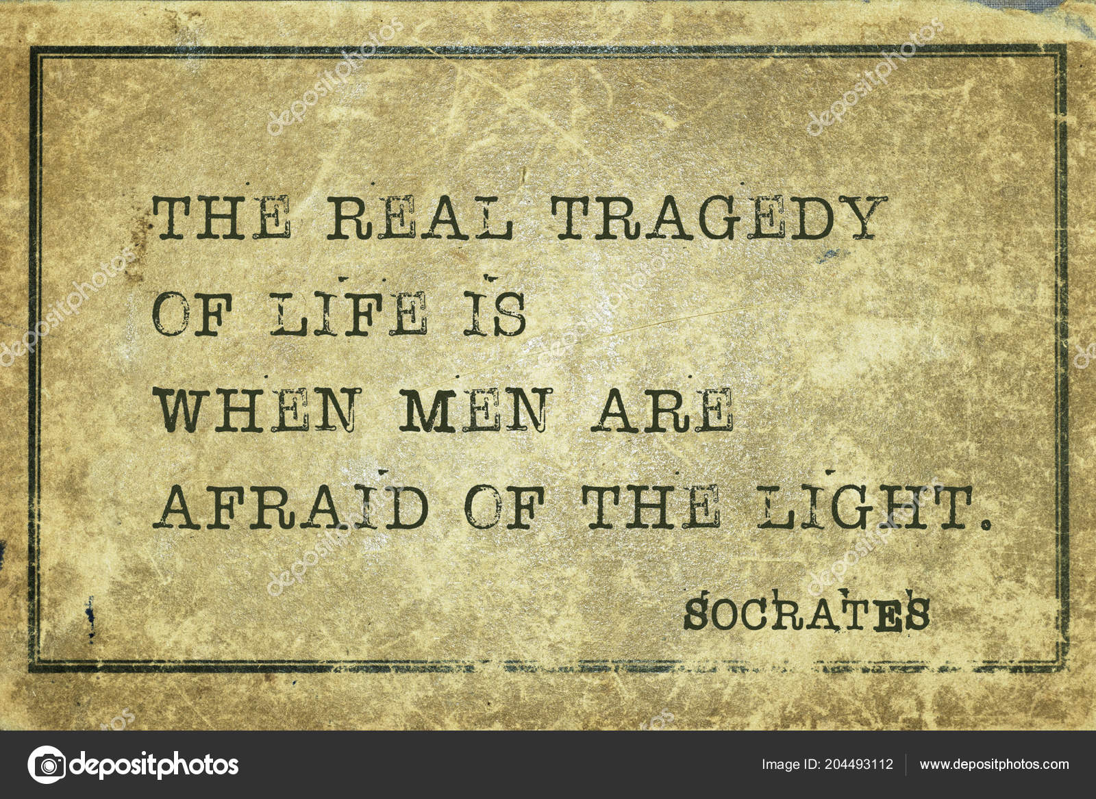 Real Tragedy Life Men Afraid Light Ancient Greek Philosopher