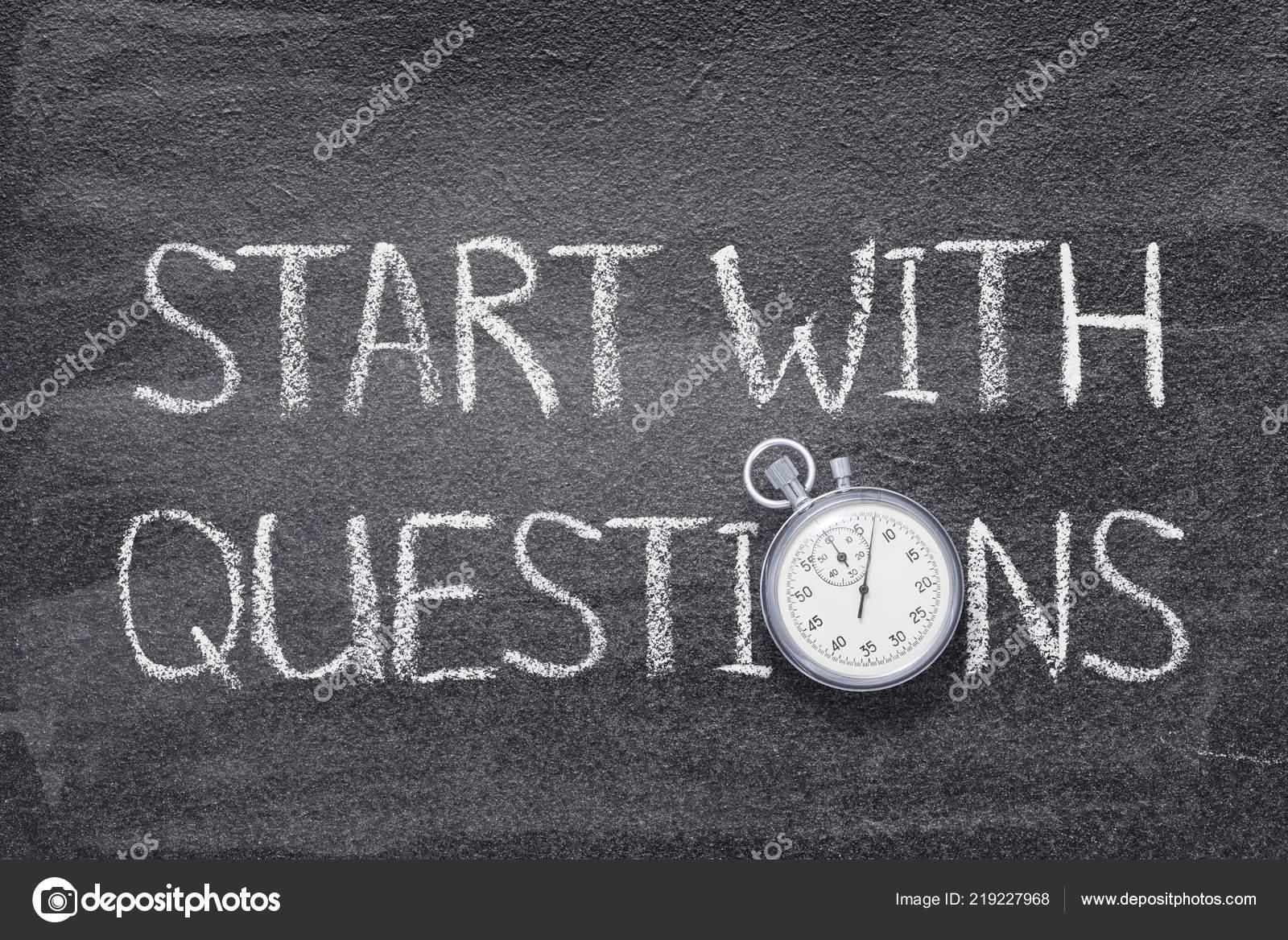 Start Questions Phrase Written Chalkboard Vintage Stopwatch