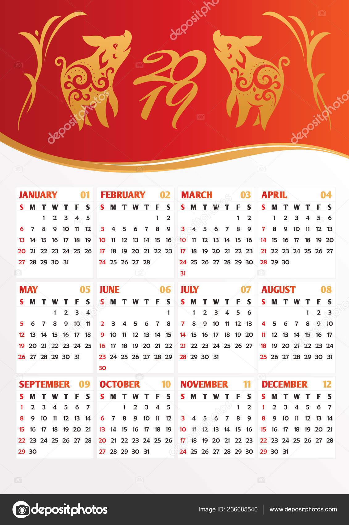 Calendario Traduzione Inglese.Calendario Anno 2019 Con Maiali Stilizzati Traduzione Del