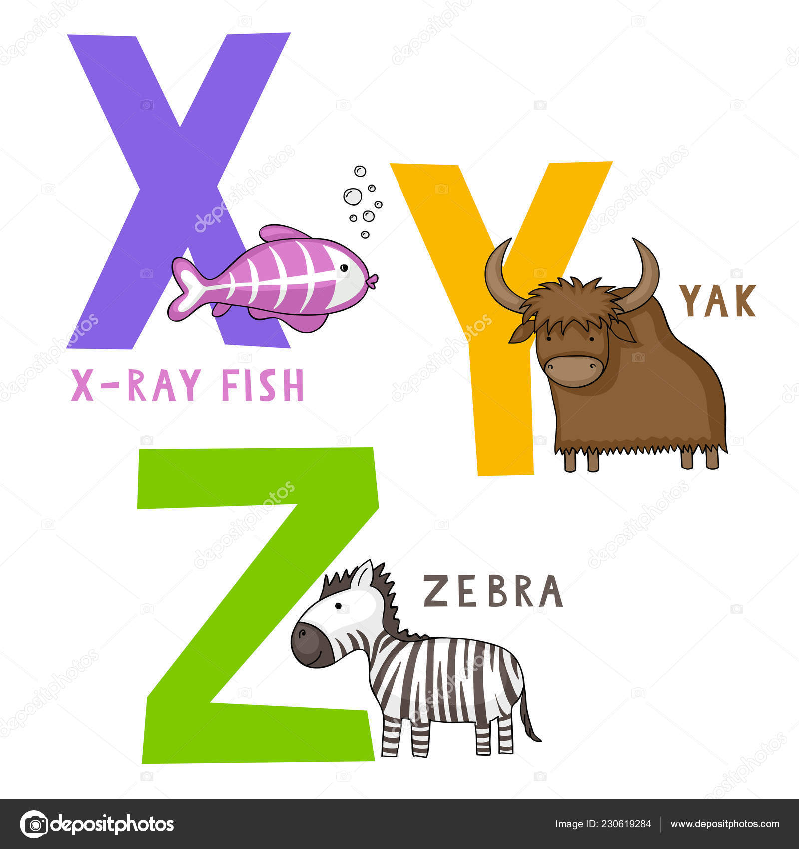 English Animal Alphabet Letters Cute Cartoon Ray Fish Yak Zebra
