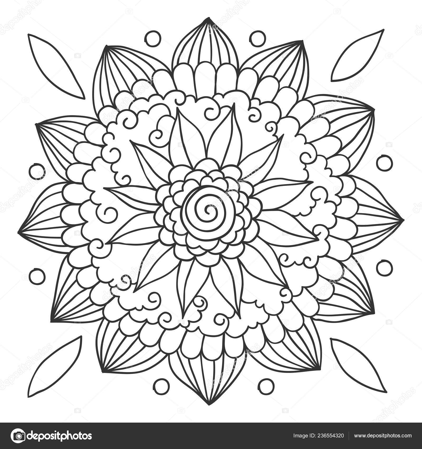 Floral Mandala Coloring Pages Hand Drawn Floral Mandala Coloring