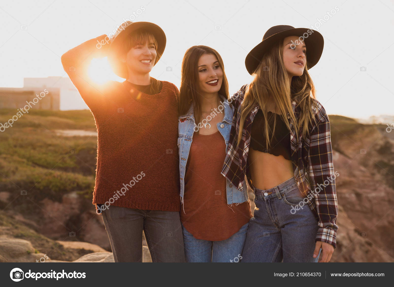 Three Best Friends Having Good Time Coastline Stock Photo