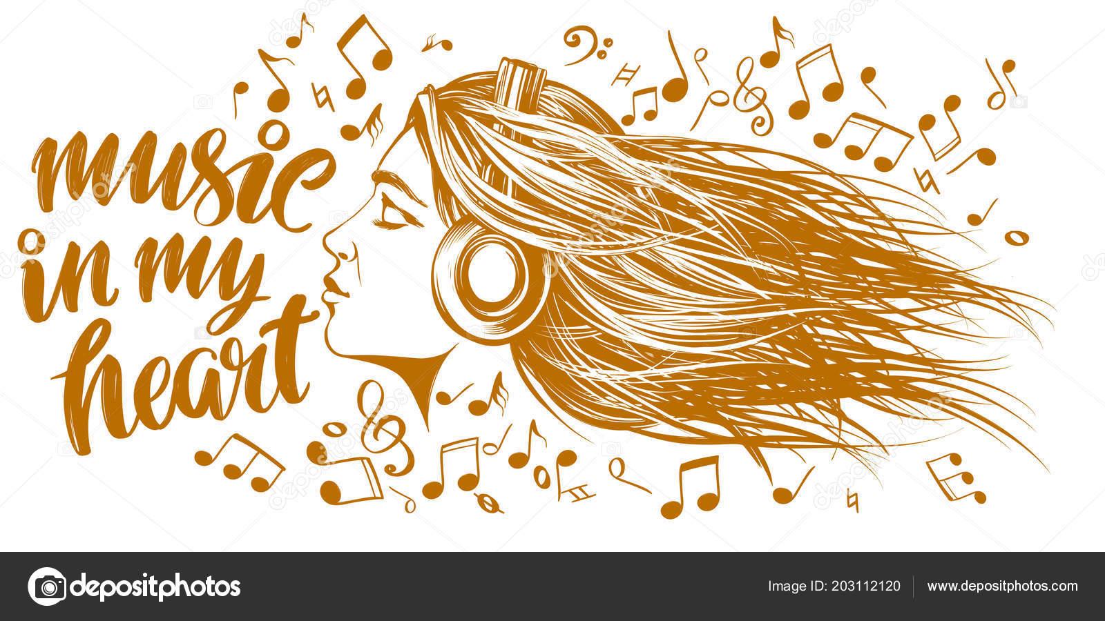 Hermosa Joven Escuchando Música En Auriculares Música De Amor Notas