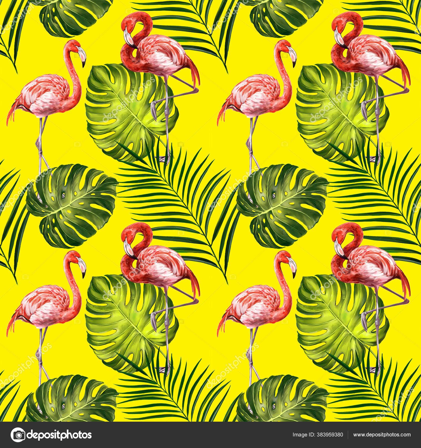 depositphotos 383959380 stock photo flamingos with tropical leaves beautiful