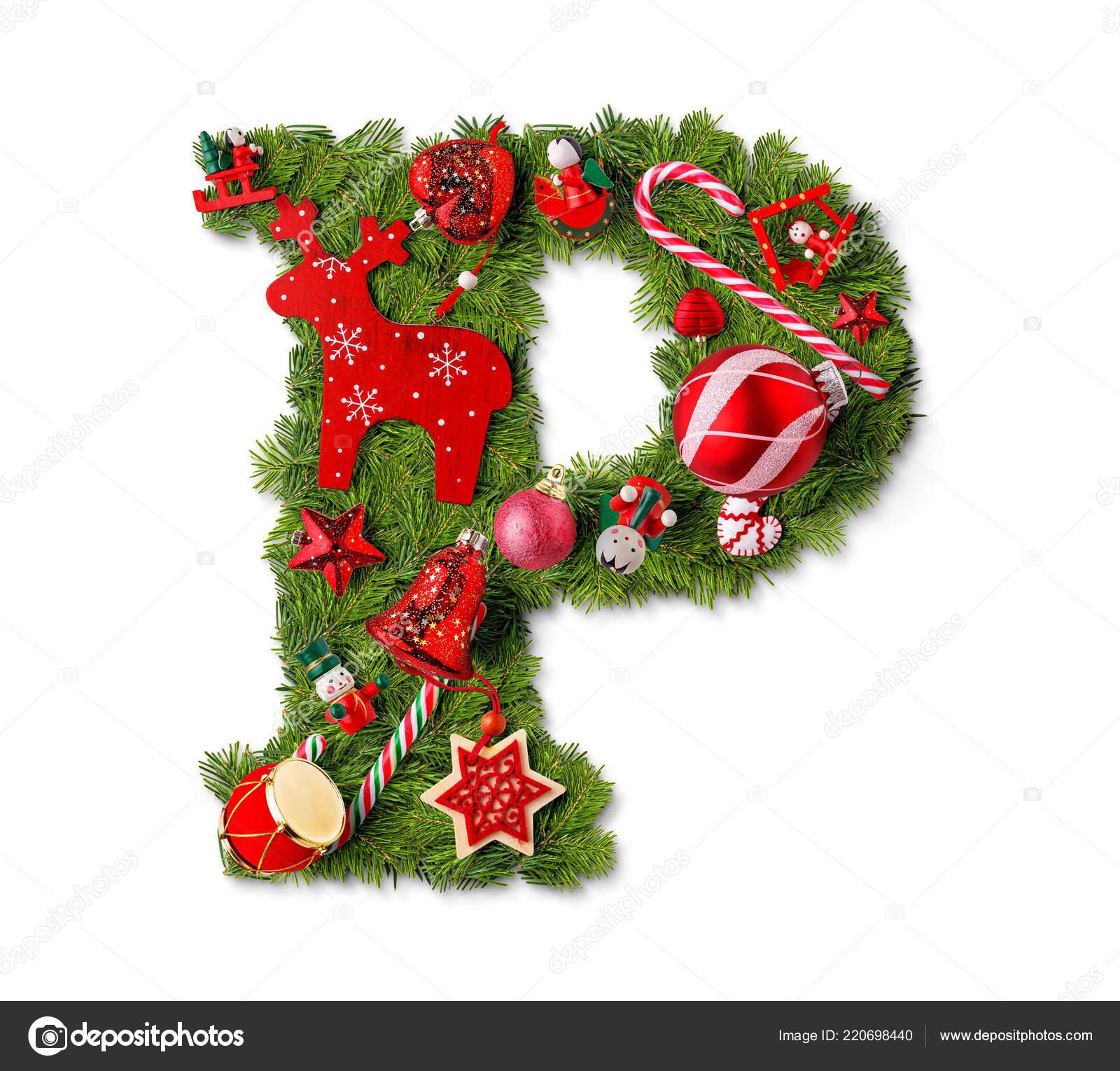 Christmas Alphabet.Christmas Alphabet Letter Isolated White Stock Photo