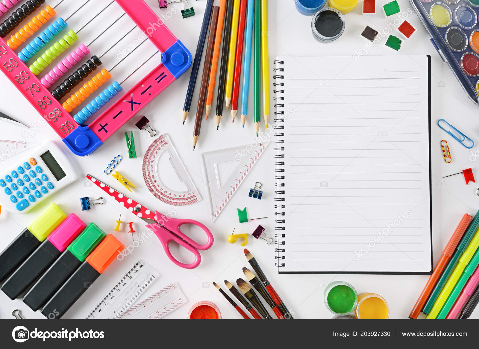 Fondo Utiles Escolares Vector: Set Útiles Escolares Fondo Blanco Espacio Para Texto
