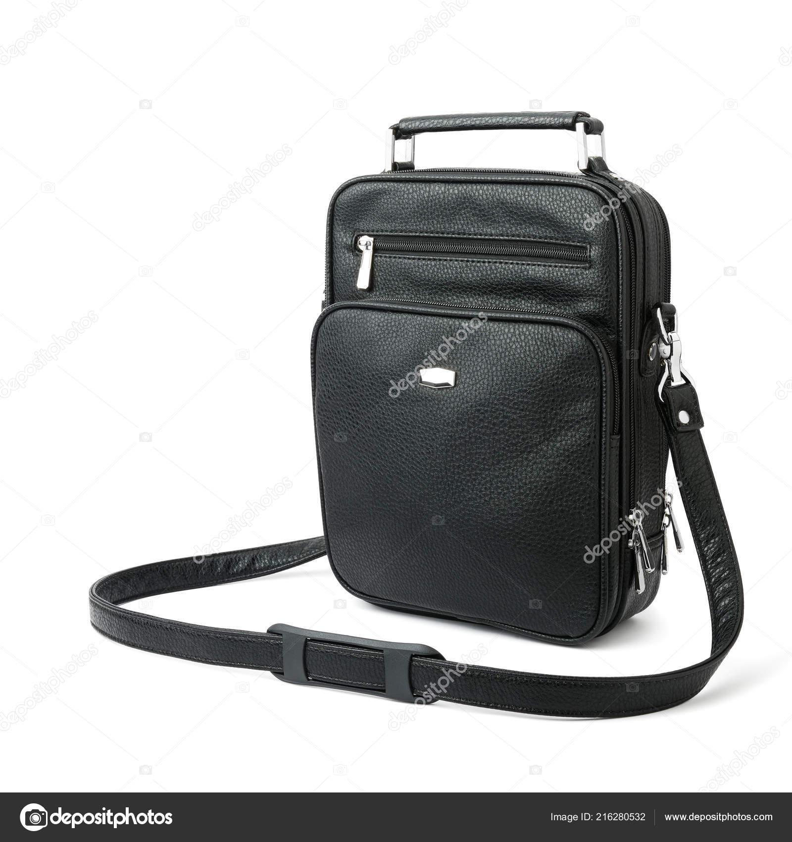 4d1a974a31 Μαύρη Ανδρική Τσάντα Για Αξεσουάρ Έγγραφα Και Χρήματα Που Απομονώνονται —  Φωτογραφία Αρχείου