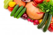 Velká sbírka užitečných zeleniny a ovoce, které jsou izolovány na whi