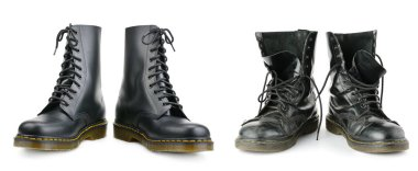 One and the same pair of black men's boots. New and worn out.