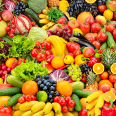 Assorted fresh ripe fruits and vegetables. Food concept backgrou