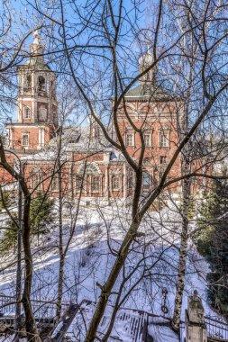 Orthodox church in Moscow winter yard