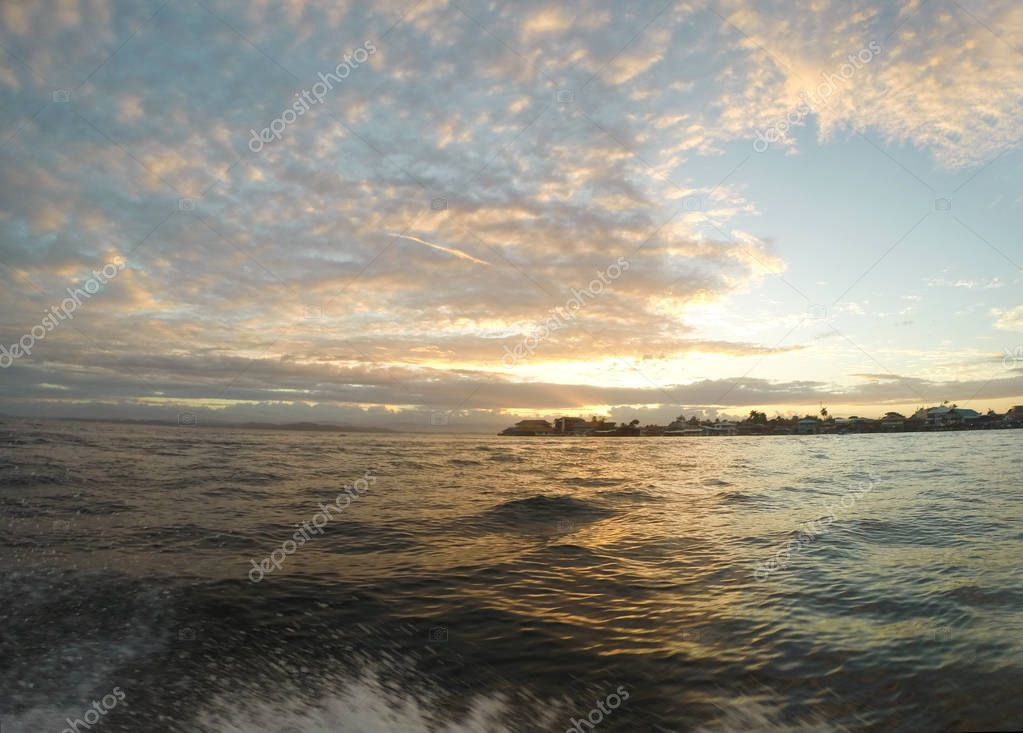 Beautiful sunset at Almirante, Bocas del Toro, Panama
