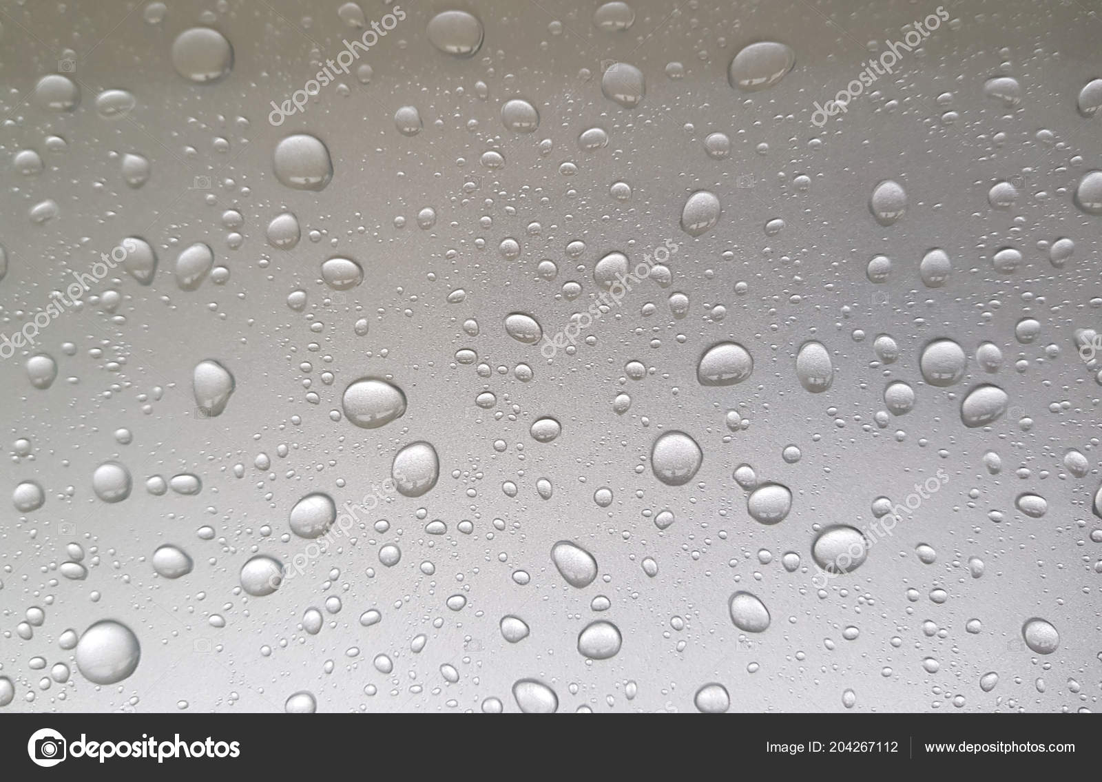 Close Water Drops Metal Surface Stock Photo Cratervalley