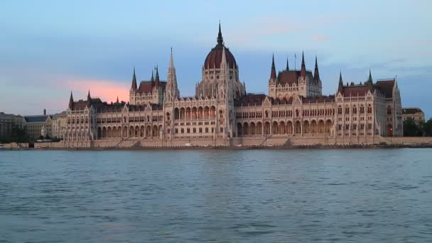 Beautiful evening view of the Hungarian Parliament Building and the Danube River in Budapest
