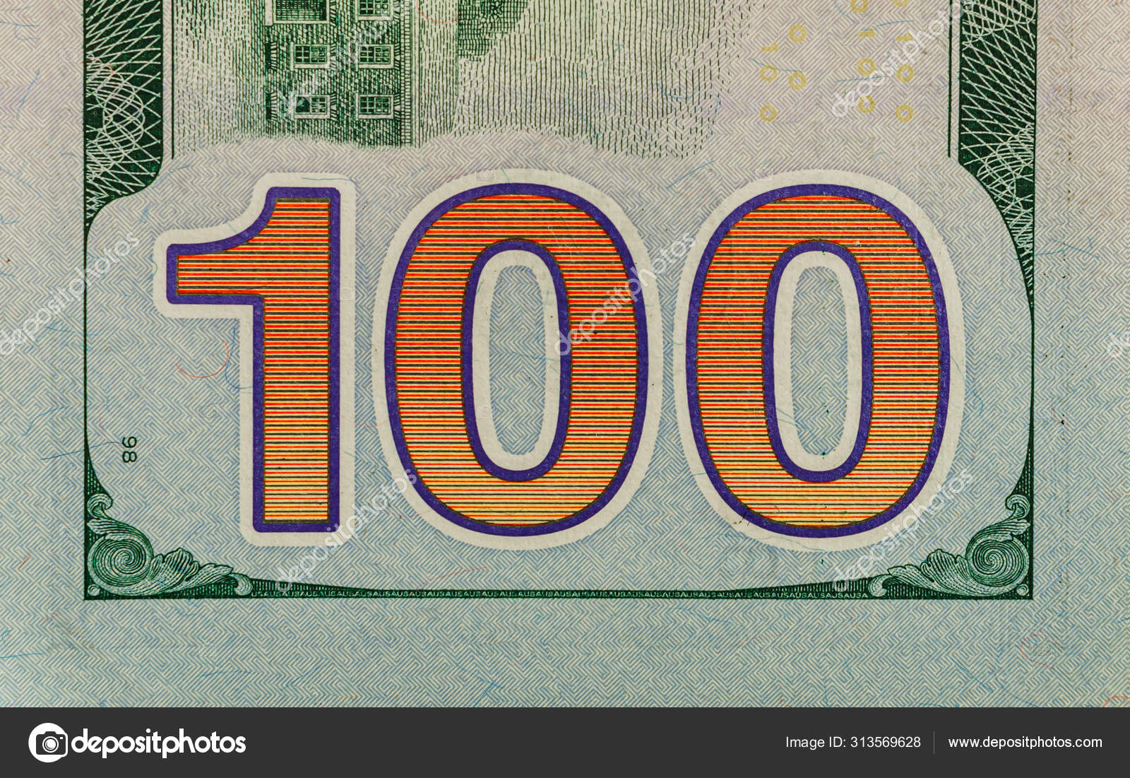 Us 100 Dollar Bill Close Up Usa Federal Fed Reserve Note Fragme