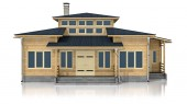 Fotografie 3d illustration of a cozy wooden house on a white background.