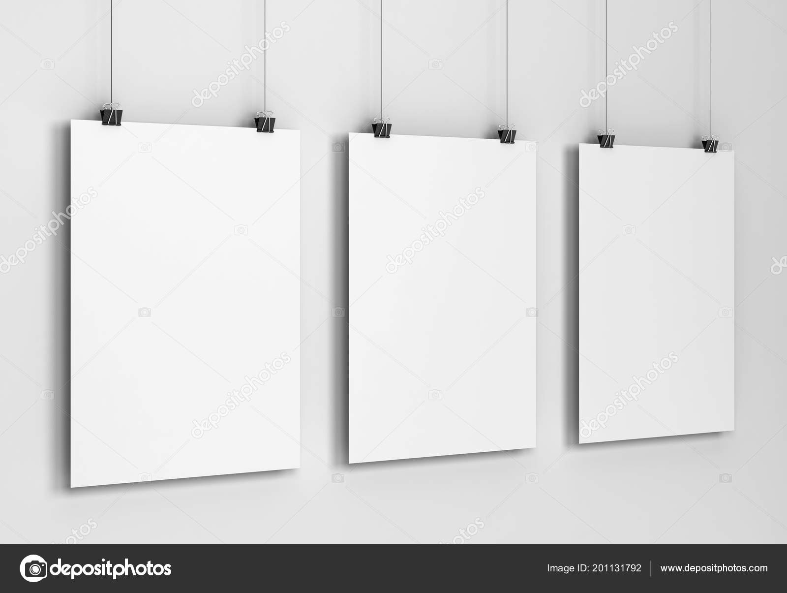 blank poster hanging wall mockup illustration gray background