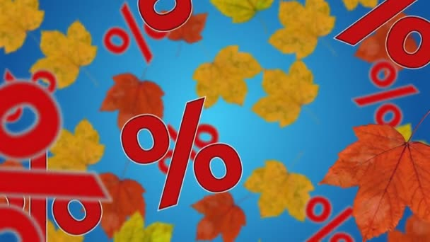 Percent signs and maple leaves falling down. Concept of seasonal sale.