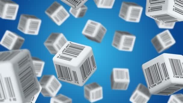Padající kostky s štítky s čárovými kódy