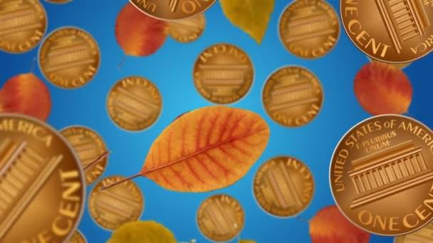Na podzim listy a mince padají. Sezónní prodejní koncept.