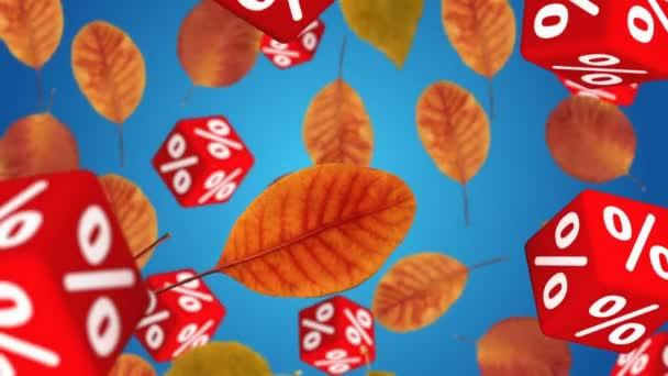 Podzimní listí a červené kostky symboly procent fallingdown. Koncept sezónní prodej.