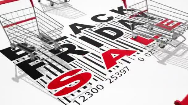 leere Einkaufswagen. Black Friday Verkaufskonzept. Schleife