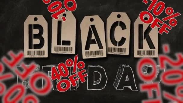 Znak procent padá na backgrpund Černým pátkem textu. Slevy a prodej koncept.