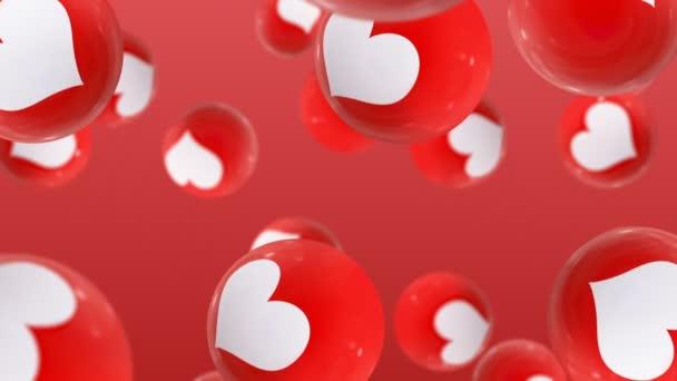 Kuličky s láskou ikon na červeném pozadí
