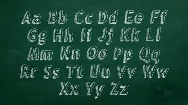 Ruční abecedy na zelenou tabuli 4k. Stop motion animace.