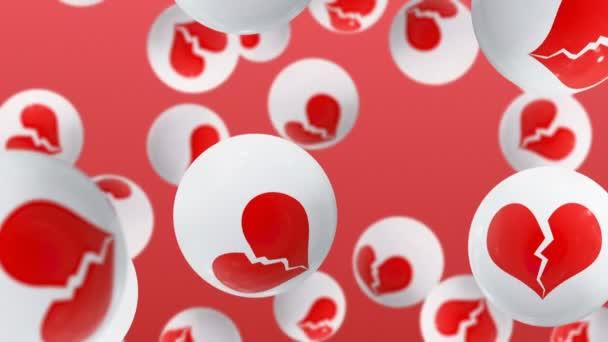 Golyó összetört szívek piros háttér ikonok.