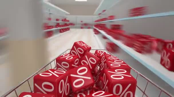 Shopping cart moving around supermarket. Sale concept.