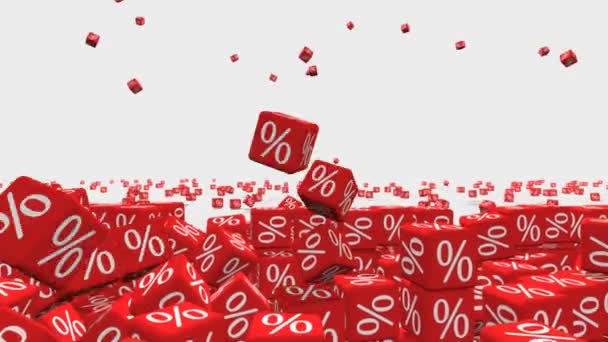 Symbols of percent on falling red cubes. Discount concept.