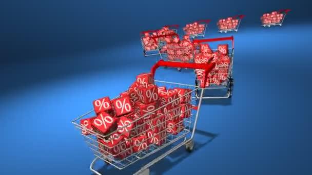 Einkaufswagen mit roten Würfeln. Konzept des Rabatts