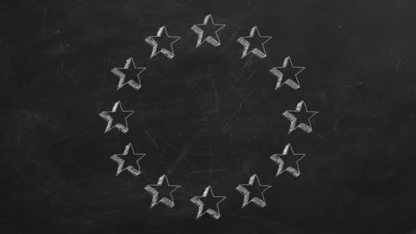 Aninmated európai uniós csillagok táblára. Stop motion animáció.