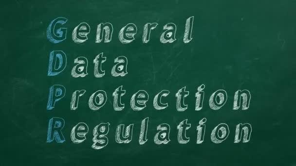 Ruční kresba Obecné nařízení o ochraně údajů na zelenou tabuli. Stop motion animace.